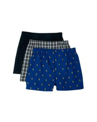 Polo Ralph Lauren Blue Assorted Cotton Boxers - Pack Of 3 for men