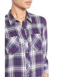 Sandra Ingrish Blue Plaid Two-pocket Boyfriend Tunic