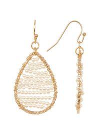 Panacea - White Imitation Seed Pearl Bead Teardrop Earrings - Lyst