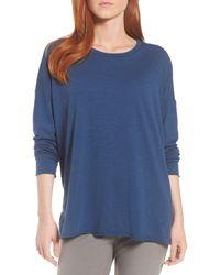 Eileen Fisher Blue Organic Cotton Knit Top