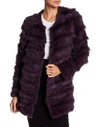 Bagatelle - Purple Tiered Genuine Rabbit & Fox Fur Coat - Lyst