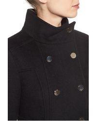 Eliza J - Black Wool Blend Long Military Coat - Lyst