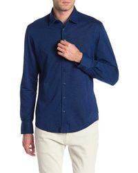 Stone Rose Blue Slub Knit Regular Fit Shirt for men