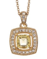 Nadri - Metallic 18k Yellow Gold Plated Cushion-cut Halo Pendant Necklace - Lyst