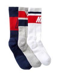 Nike - Blue Dri-fit Cushioned Crew Socks - Pack Of 3 for Men - Lyst