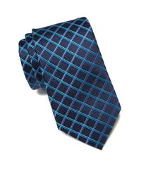 Ted Baker Blue Grid Pattern Silk Tie for men