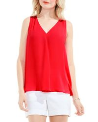 Vince Camuto | Red Pleat Front A-line Blouse | Lyst
