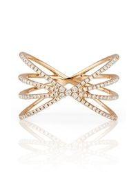 EF Collection - Metallic 14k Rose Gold Pave Diamond Sunburst Ring - Size 6 - 0.30 Ctw - Lyst