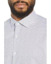 Calibrate - White Trim Fit Print Short Sleeve Sport Shirt for Men - Lyst