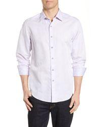 Robert Graham Purple Temple Of Skull Classic Fit Linen Blend Shirt for men