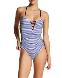 Sperry Top-Sider Blue Striped One-piece Swimsuit