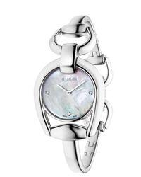 Gucci - Metallic Women's Horsebit Diamond Index Bangle Watch, 28mm - Lyst