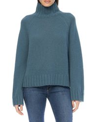 360cashmere Blue Leighton Mock Neck Sweater