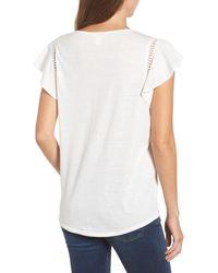 Caslon - White (r) Flutter Sleeve Crochet Detail Top (regular & Petite) - Lyst