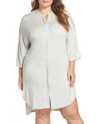 DKNY - Gray Knit Sleep Shirt - Lyst