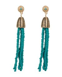 Steve Madden - Multicolor Beaded Fringe Detail Earrings - Lyst