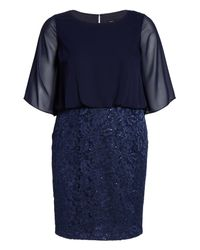 Alex Evenings - Blue Sequin Embroidered Blouson Sheath Dress - Lyst
