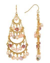 Carolee - Metallic Beaded Chandelier Earrings - Lyst