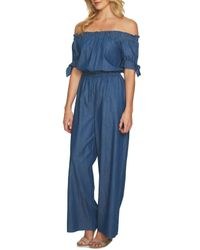 Cece by Cynthia Steffe Blue Off-the-shoulder Wide Leg Jumpsuit