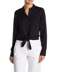 Theory Black Tie Front Silk Blend Blouse