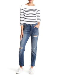 Current/Elliott - Blue Slouchy Skinny Distressed Jeans - Lyst