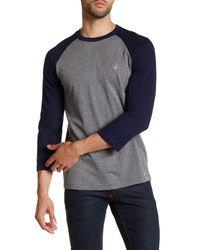Volcom - Gray Staple 3/4 Raglan Sleeve Tee for Men - Lyst