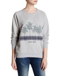 Anine Bing   Gray Embroidered Long Sleeve Sweatshirt   Lyst