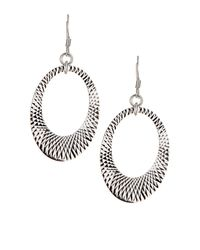 Royal Chain Group - White Sterling Silver Cutout Oval Drop Earrings - Lyst