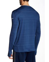 Adidas Originals - Blue Heathered Long Sleeve Climalite Tee for Men - Lyst