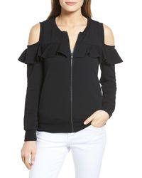 Pleione Black Cold Shoulder Zip Front Sweatshirt