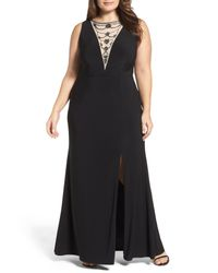 Adrianna Papell Black Embellished Jersey Gown