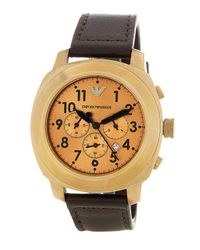 Emporio Armani | Brown Men's Sportivo Chronograph Leather Strap Watch for Men | Lyst