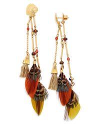 Gas Bijoux - Purple Embellished Feather Drop Earrings - Lyst