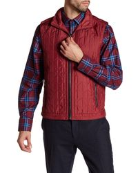 Bugatchi | Red Quilted Stowable Hood Vest for Men | Lyst