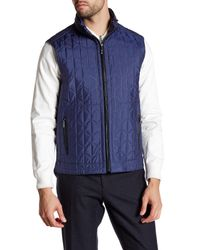 Bugatchi | Blue Quilted Stowable Hood Vest for Men | Lyst