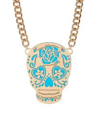 Betsey Johnson   Blue Frontal Sugar Skull Pendant Necklace   Lyst