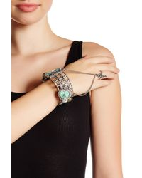Betsey Johnson | Black Lady Luck Hand Chain Ring/bangle | Lyst