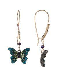 Betsey Johnson - Multicolor Pave Butterfly Drop Earrings - Lyst