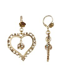 Betsey Johnson | Metallic Crystal Gold Heart Orbit Earrings | Lyst