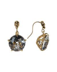 Betsey Johnson | Black Patina Skull Drop Earrings | Lyst