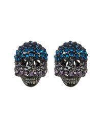 Betsey Johnson | Blue Crystal Skull Stud Earrings | Lyst