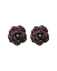 Betsey Johnson   Pink Crystal Rose Button Earrings   Lyst