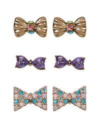 Betsey Johnson - Multicolor Multi-pave Bow Stud Earrings Set - Set Of 3 - Lyst