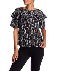 Closet - Black Short Sleeve Ruffle Trim Polka Dot Blouse - Lyst