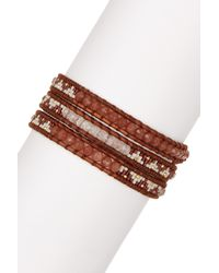 Chan Luu - Multicolor 18k Yellow Gold Plated Sterling Silver Red Hematoid, Dyed Jade & Japanese Seed Bead Wrap Bracelet - Lyst