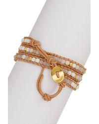 Chan Luu - Metallic 18k Yellow Gold Plated Sterling Silver Nugget, White Jade & White Opal Bead Wrap Bracelet - Lyst