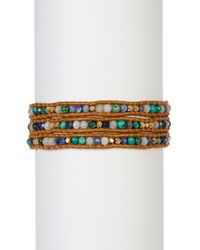 Chan Luu - Multicolor Leather & African Turquoise Beaded Wrap Bracelet - Lyst