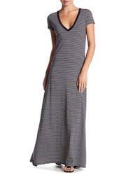 C&C California - Gray Harmony Deep V-neck Maxi Dress - Lyst