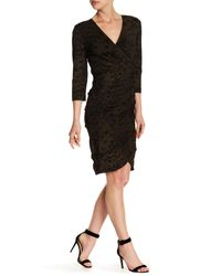 Nicole Miller | Black V-neck Tuck Dress | Lyst