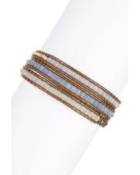 Chan Luu | Blue Mixed Semi-precious Gemstone & Nugget Beaded Leather Wrap Bracelet | Lyst